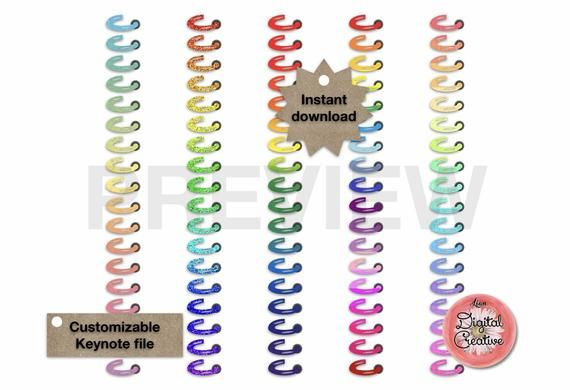 5 Digital Binder Rings For Landscape Or Portrait Planner Keynote File Customizable Planner Rings Planner Digital Planner Customizable Planner