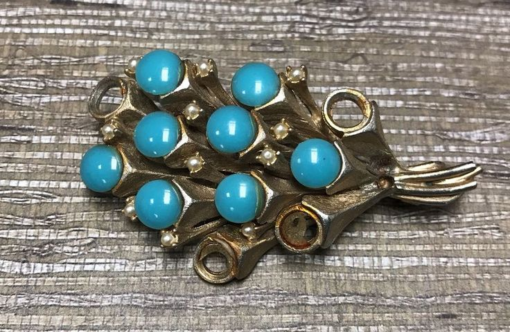 Vintage Signed HAR Turquoise Blue Faux Pearl Bouquet Brooch Pin Goldtone REPAIR  | eBay