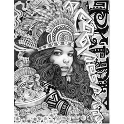 Aztec Girl by Mouse Lopez Lowbrow Artwork Canvas Art Print. Jaime Raul Lopez, known as Mouse Lopez, is a lifer inmate of Kern Valley State Prison in Delano, California. Unable to secure art supplies, Mouse began drawing on pillow cases and napkins using only a black or blue BIC pen. Finding freedom only in his art, Mouses work is a testament to the power of the mind which transports him to a place of beauty and creativity. tattoo-art