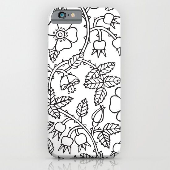 Black Ink Wild Roses iPhone & iPod Case