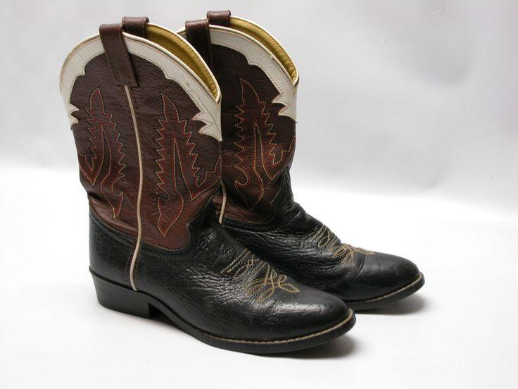 Tony Lama  Western Cowboy Roper Boots #403Y Mens Sz 5D  Black Brown Leather #TonyLama #CowboyWestern