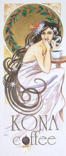 Koffie: momentje om lekker even helemaal bij jezelf te komen *Coffee: Relaxing Me-time Moment  ~Affiche van Stephanie Bolton, Kona Coffee~