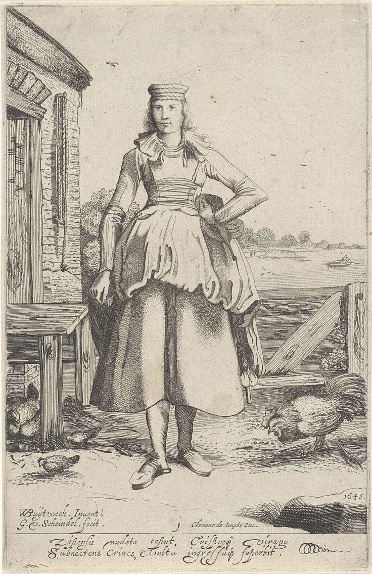 Gillis van Scheyndel (I) | Meisje uit Zijpe, Gillis van Scheyndel (I), Clement de Jonghe, 1620 - 1624 | Staande jonge vrouw uit de Zijpepolder. Nr. 1 in een serie van acht jonge vrouwen in Noord-Hollandse klederdrachten.  Met onderschrift van twee regels in het Latijn.