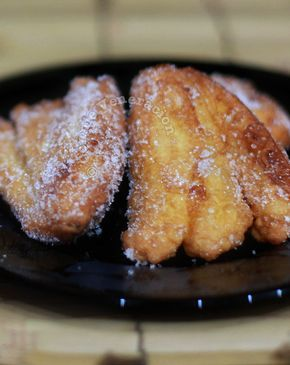 Maruya is fried battered banana. This recipe comes with a little trick to make dipping the sliced bananas in the egg-and-flour batter easier and less messy.