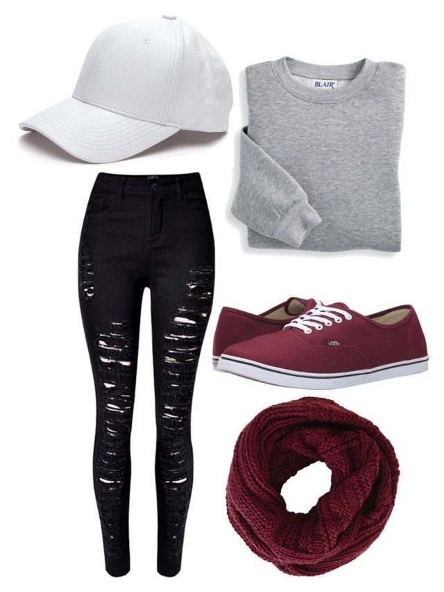 """Maroon Vans"" by obegnel ❤ liked on Polyvore featuring Vans, Blair, WithChic and BCBGMAXAZRIA"