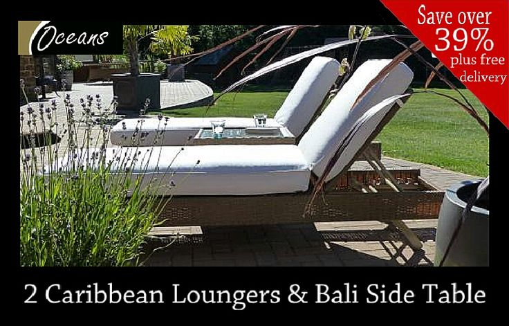 Our stylish Caribbean Loungers are designed to make sunbathing on your back or front luxuriously comfortable.  This special package deal also includes a Bali side table completely free of charge.