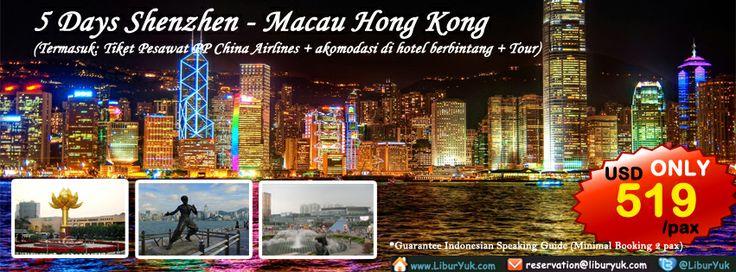Yuk jalan-jalan sekaligus ke tiga Negara di #Cina sekarang juga.Dapatkan paket 5 Hari #Shenzhen-#Macau-Hong Kong by #China #Airlines-Super Murah sekarang juga dan dapatkan diskon spesialnya!  Dapatkan Special Paket tersebut dari LiburYuk.com di http://liburyuk.com/groupseries/book/90672973/5-Days-Shenzhen-Macau-Hong-Kong-by-China-Airlines---Super-Murah #abbeytravel #jalan# holiday