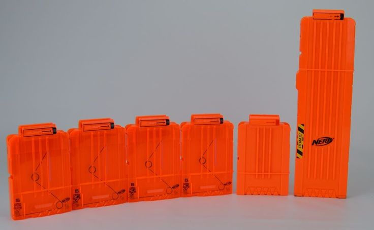 Nerf N-Strike Clip Lot Four 6 Shot Magazines One 18 Shot Magazine #Nerf
