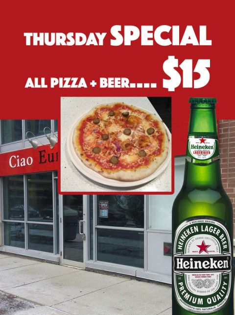 Ciao Europa Cafe — Thursday Special: All Pizza + Beer: $15 #deal #savings #deals #BurlON #northyork #mississauga #toronto #coupon #restaurant #ontario #oakville #food #drink #app #seecows