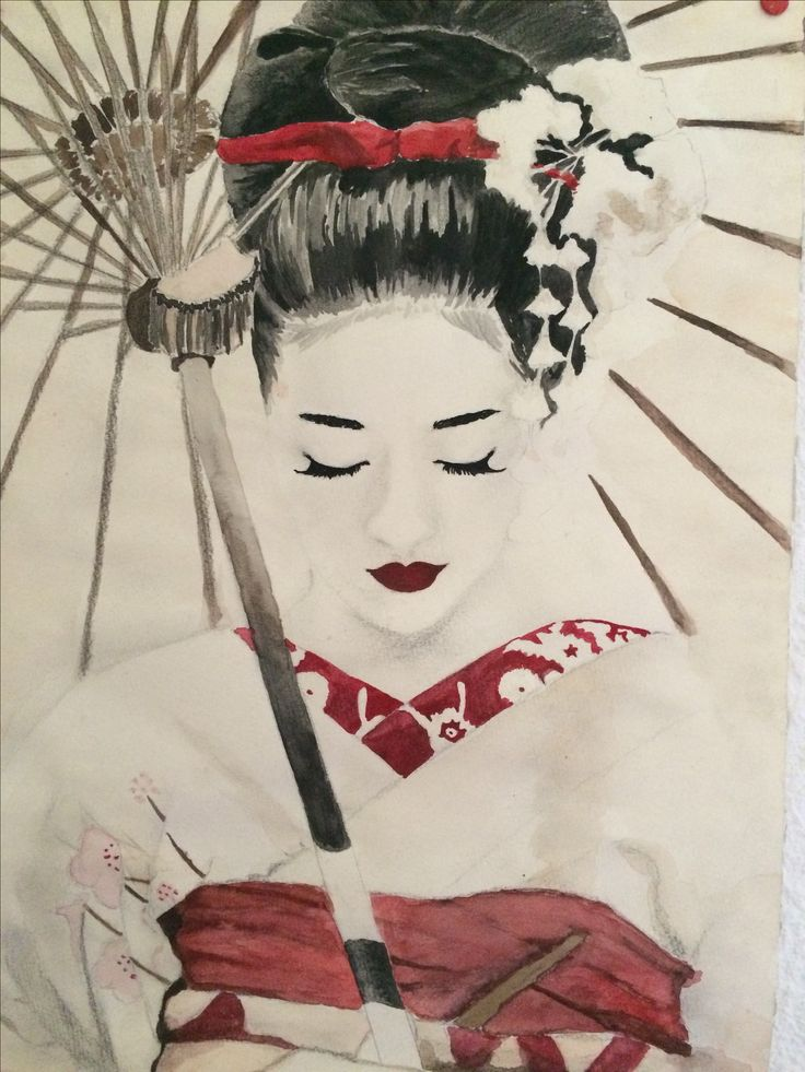 Inspired by Memoires of a Geisha, watercolor, can be purchased on www.redbubble.com