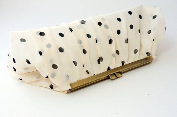 Black  White/Ivory Polka Dot Party Clutch Handbag Purse - Perfect Bridal/Prom/Evening/Bridesmaid Clutch via Etsy