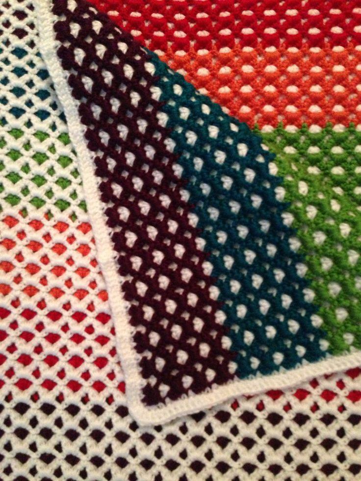 Reversible Baby Afghan By Carole S. - Free Crochet Pattern - (ravelry) ༺✿Teresa Restegui http://www.pinterest.com/teretegui/✿༻