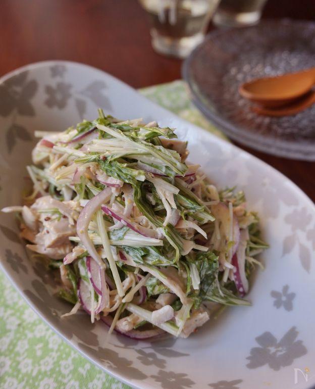 水菜と鶏肉のマヨマスタードサラダ by 楠みどり