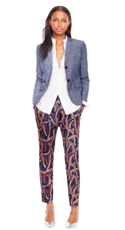 JCrew // printed pants + chambray blazer
