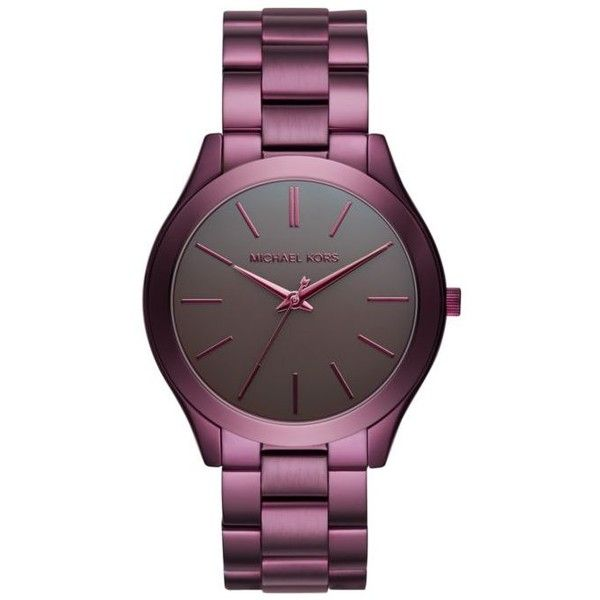 Michael Kors Purple Womens Slim Runway Plum Ip Three-Hand Watch -... ($195) ❤ liked on Polyvore featuring jewelry, watches, purple, purple jewelry, polish jewelry, michael kors jewelry, gunmetal watches and gunmetal jewelry