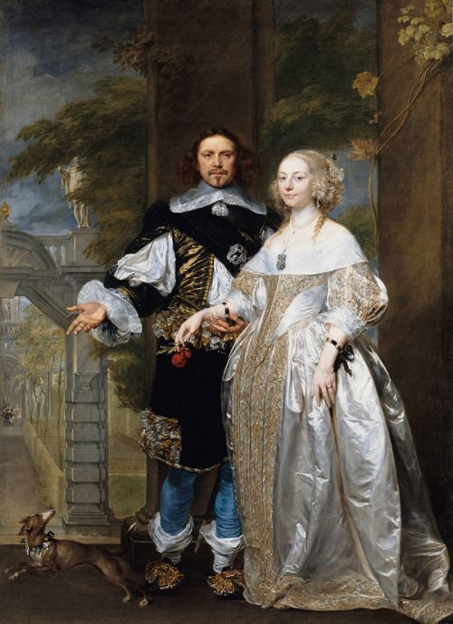 1662 Attributed to Gonzales Coques - Portrait of a married couple in a park