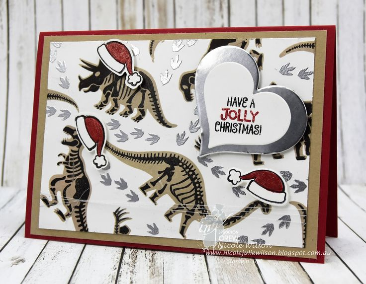 Nicole Wilson Independent Stampin' Up!® Demonstrator Colour INKspiration 23, Real Red, Basic Black, Crumb Cake and Silver Foil - Dinosaur meets Christmas, Santa Suit & No Bones about it #stampinup #Christmas #CI23 #dinosaur #santahat