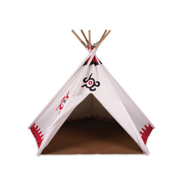 Pacific Play Tents Cotton Canvas Teepee Tent, Multicolor