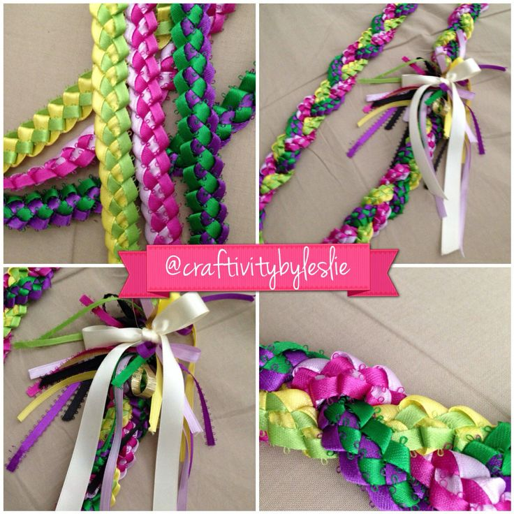 DIY ribbon lei: three strands of ribbon lei braided together in this perfect colorful combination, especially for a girl. I also added puffy paint on the thick satin ribbon to personalize my touch. #ribbonlei #leis #ribbon #gradgifts #diy