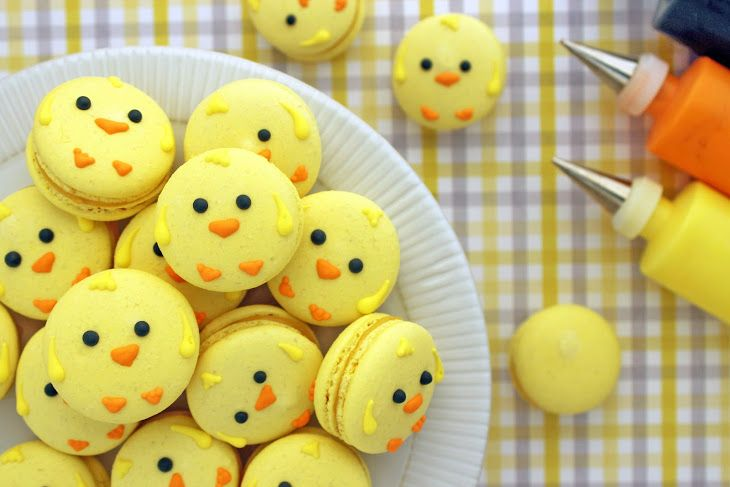 Easter Chick Macarons Recipe Desserts with almond flour, powdered sugar, egg whites, sugar, water, yellow food coloring, lemon curd, icing, icing, icing