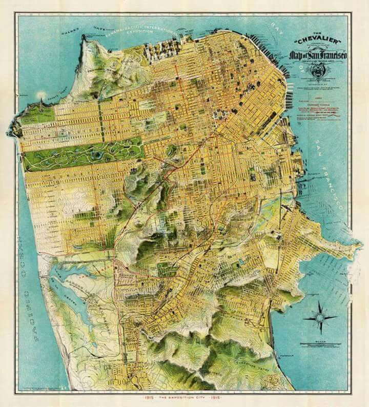 San Jose Calif Map%0A Old Map of San Francisco  California CA  The Vintage Chevalier Reproduction  Map