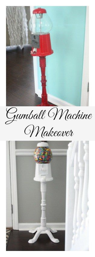 Gumball Machine Makeover. A traditional red gumball machine gets a cool, crisp makeover with spray paint!