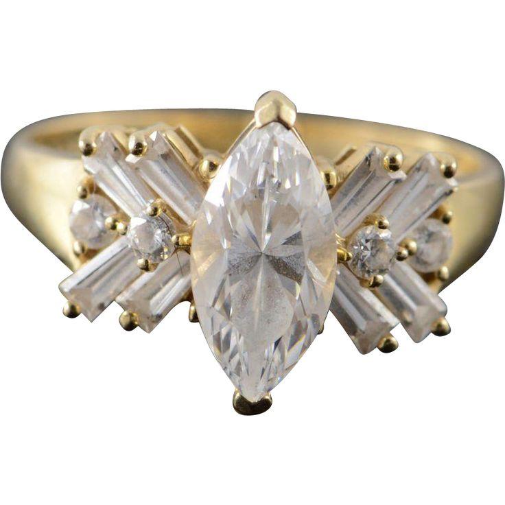 14K 2.00 CTW marquesa tamaño del viaje CZ Clúster de compromiso del anillo 9 de oro amarillo
