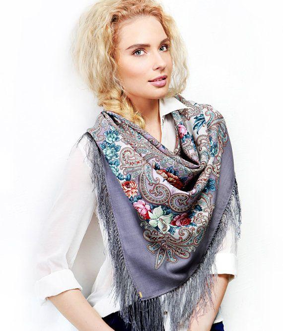 Russian Pavlovsky Posad shawl Secret of Heart Тайна сердца