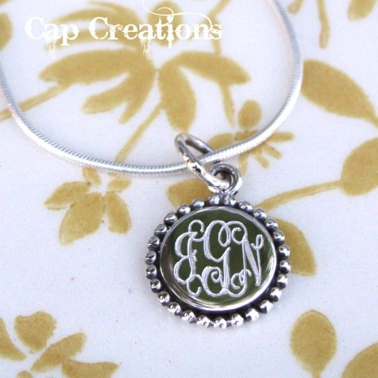 Beaded Circle Monogram Pendant