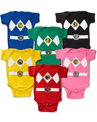 Baby can morph into a Power Ranger with one of these superhero suits! Click above to buy a one piece in your color of choice.