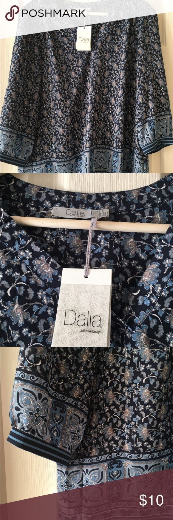 Brand New Dalia Blouse Gorgeous Dalia Blouse. Blue with contrasting detail at hem and wrists. Dalia Tops Blouses