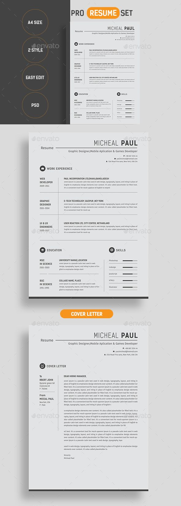 Template For A Cover Letter For A Resume%0A Pro Resume  Infographic ResumeResume Cover LettersResume DesignJob SeekersResume  TemplatesStationeryFonts