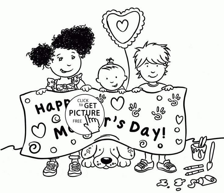 cute kids and happy mothers day coloring page for kids coloring pages printables free