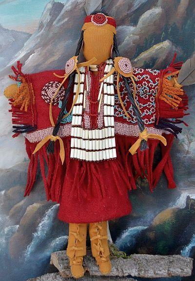Native American Plains Indian - Handmade Doll, Hand Beaded, Bone & Porcupine Beads.
