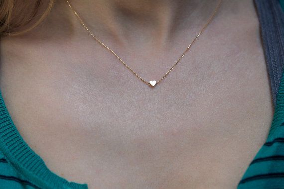 Gold Herz Collier einfache Gold Kette einfache von MinimalVS
