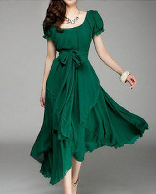 2015 Женская одежда Для полных Шифон Средний стиль Платья длинные
