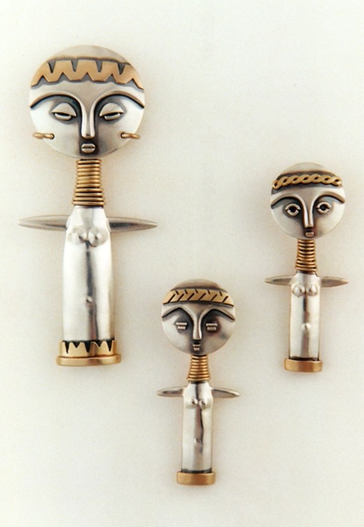 "Pendants | Ahlene Welsh, ""Africa series; Fertility Dolls"". Sterling silver and 14k gold"