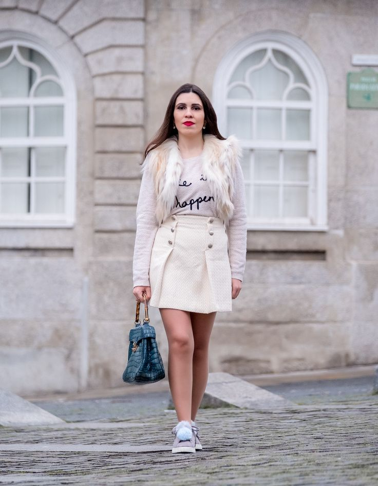How to make a monochromatic outfit look cool -  #Bag #bamboo #Blue #buttons #croc #FauxFur #Gold #Grey #Knit #Leather #nude #pompom #quote #Skirt #Sneakers #Stradivarius #Sweater #Vest #white #zara