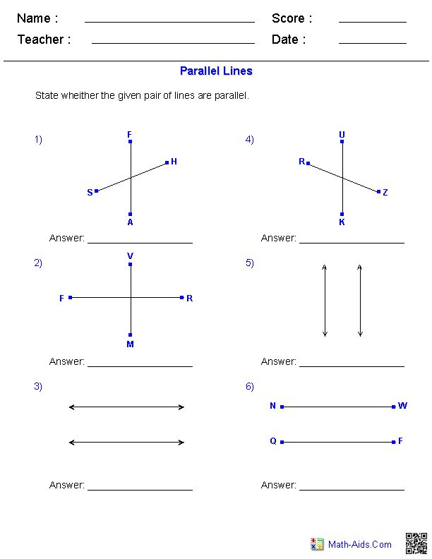 identifying parallel lines worksheets math aids com geometry worksheets line math parallel. Black Bedroom Furniture Sets. Home Design Ideas