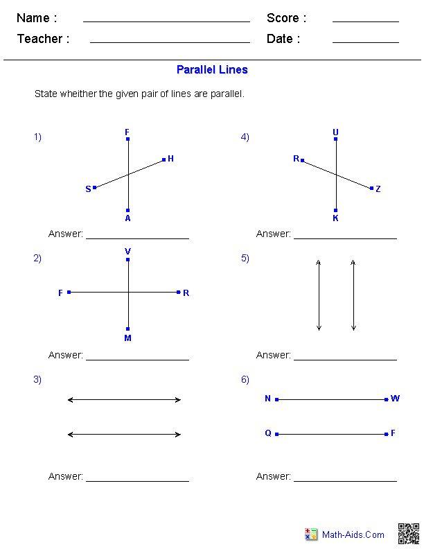 identifying parallel lines worksheets math aids com pinterest see best ideas about worksheets. Black Bedroom Furniture Sets. Home Design Ideas