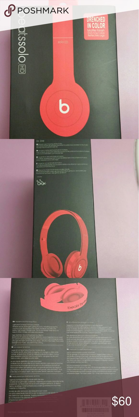 BEATSOLO HD BY DR. DRE Original Beat Solo HD, Red, New in Box BEATS  Makeup Eyeliner