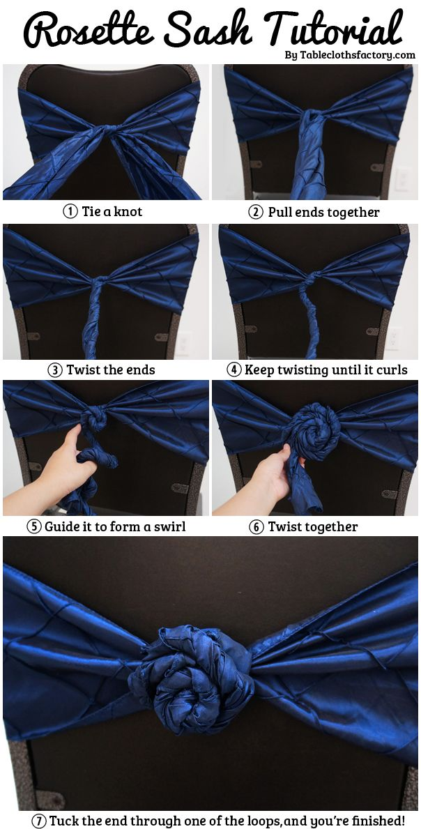 Idea For Decorating Your Wedding Ceremony And Reception Chairs How To Tie A Rosette Sash