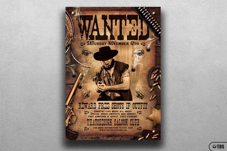 **This item is also included in 2 flyer bundles:**- **Massive 300 Flyers Bundle:** https://crmrkt.com/9O9Ee- **112 Club and Misc. Flyers Bundle:** https://crmrkt.com/59zlr------**WANTED WESTERN PARTY FLYER TEMPLATE:**- 1 Photoshop psd file, 1 help file.- A4 size (21x29.7 cm) or (8.3x11.7 inch) with