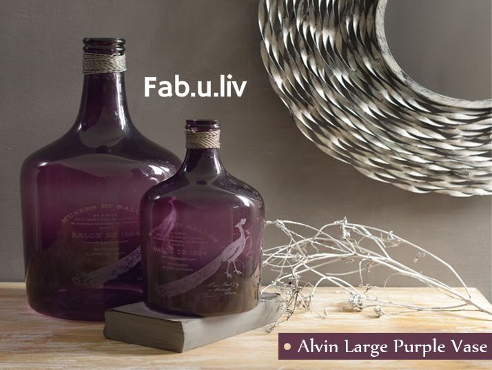 Want to give your home a classy look and feel? Opt for these deep purple bottles, which can double up as vases.. Buy now ---> https://goo.gl/KsCOA6