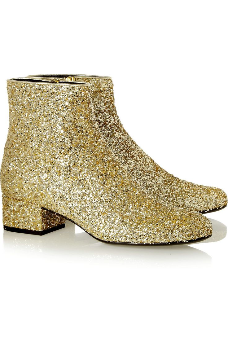Saint Laurent | Glitter-finished leather ankle boots #the2bandits #banditparty