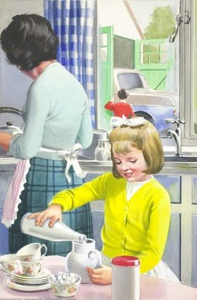"Helping mother. (from vintage English ""Ladybird"" storybooks)"