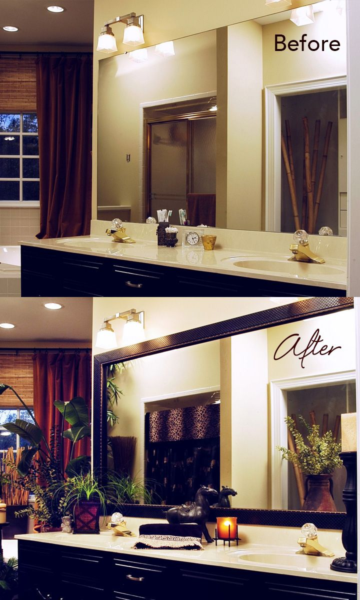 49 best mirrormate before and afters images on pinterest custom diy bathroom makeover on a budget mirror goes from builder grade to beautiful with a solutioingenieria Image collections