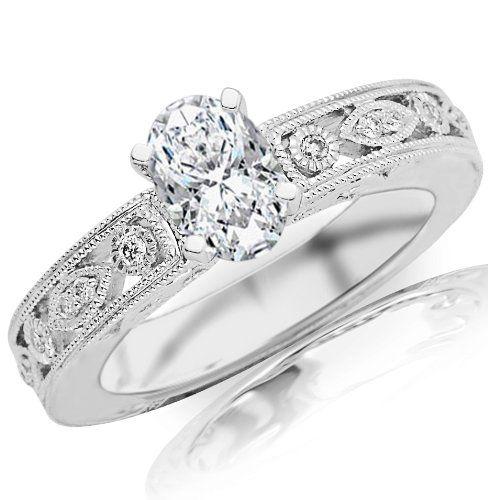 266cb2191188 0.69 Carat Oval Cut   Shape 14K White Gold Antique   Vintage Bezel Set  Designer Diamond. Anillo De Compromiso ...