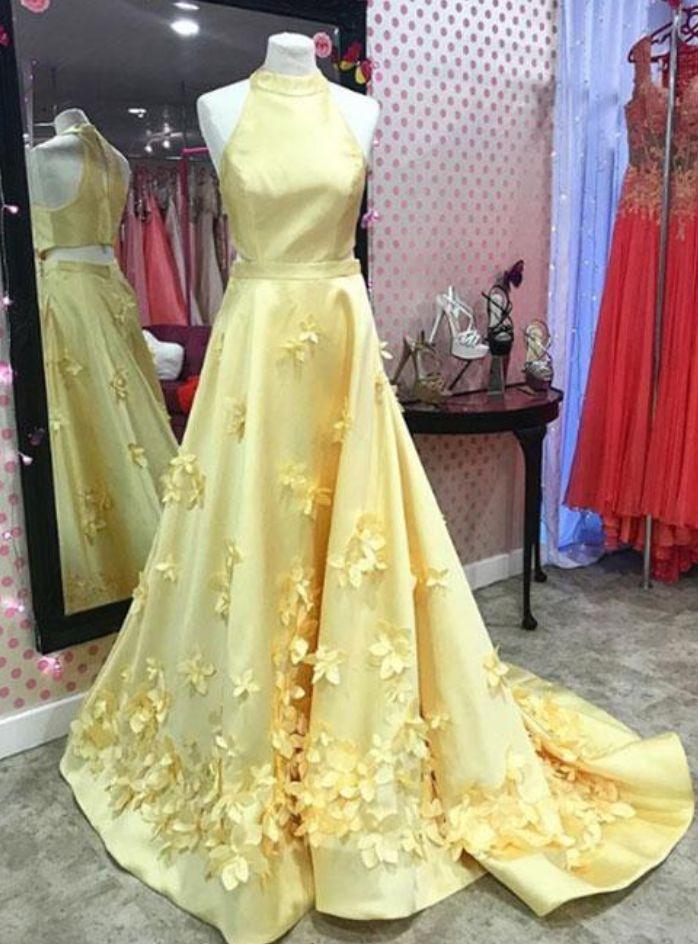 Unique yellow satin long prom dress, yellow evening dress