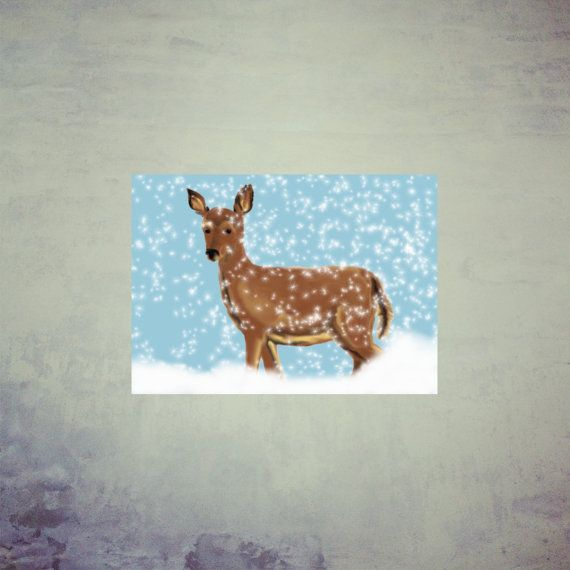 Printable Christmas Card Printable Holiday Card by MerciKiss, $5.00 #cristmascard #deer #holidaycard #printablecard